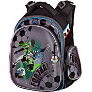 Ранец для первоклассника Hummingbird TK27 Футбол серый с мешком для обуви + пенал
