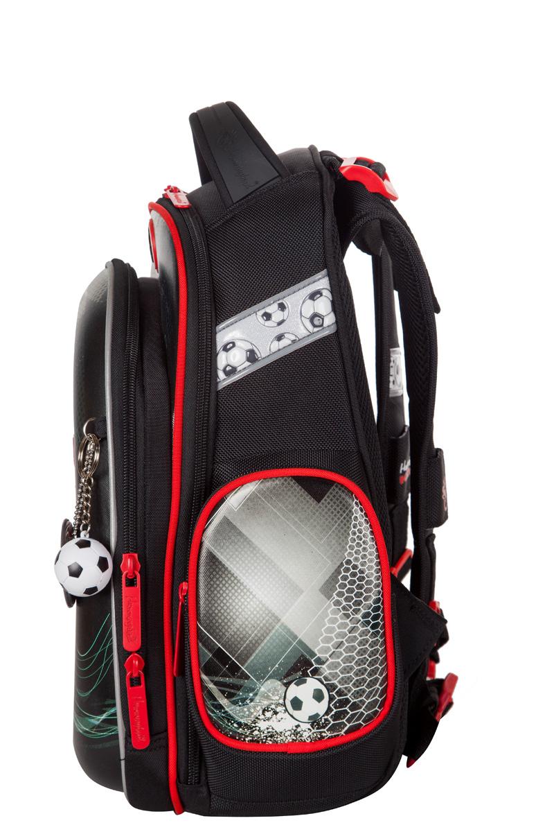 Ранец для первоклассника Hummingbird TK60 Футбол серый с мешком для обуви + пенал, - фото 3